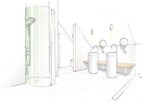 Ideenskizze für ein neues Komplettbad.